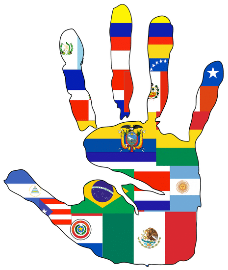 Hand with Latin American Flags