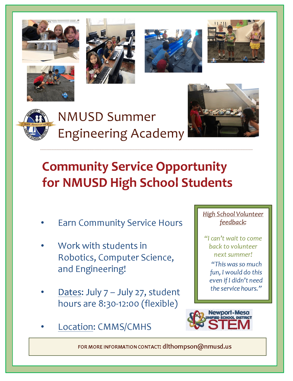 Summer Engineering Academy Volunteer Flyer