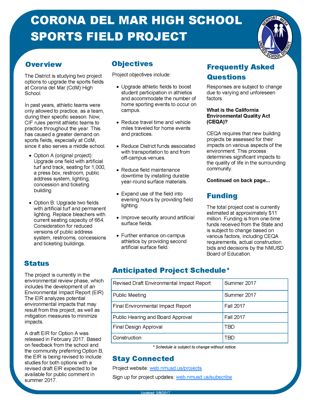 Corona del Mar High School Fact Sheet Page 1