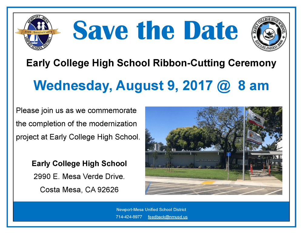 Early College High School Ribbon Cutting Ceremony Invitation