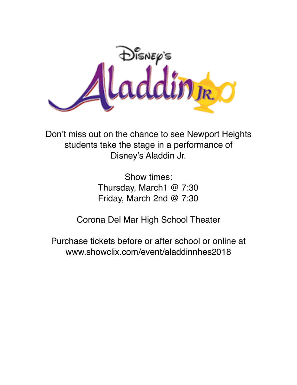 flier for Newport Heights Aladdin Jr.