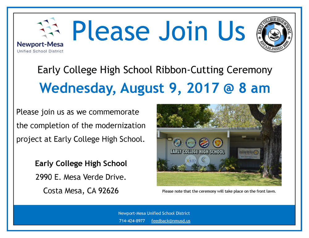 Early Colelge High School Ribbon-Cutting Invite