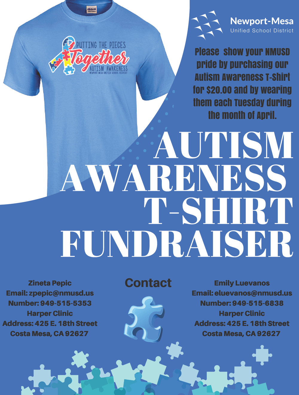 Autism Awareness T-Shirt Flyer 2018